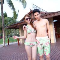 新款情侣装泳衣海边温泉蜜月度假套装钢托聚拢比基尼泳装