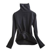 纯色高领长袖t恤女黑色打底衫冬 修身紧身上衣加绒加厚内搭堆堆领