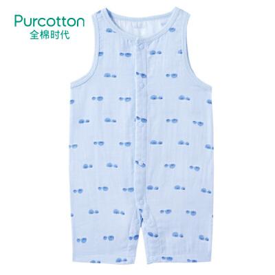 全棉时代 婴儿纱布无袖连体衣1件装