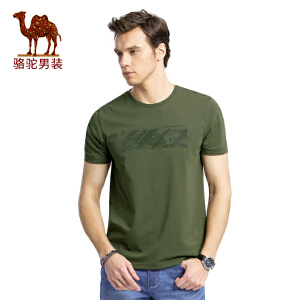 骆驼男装 夏季新款印花主题时尚青春圆领修身微弹短袖T恤衫