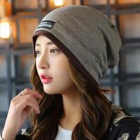 针织帽子女冬季套头帽韩版包头帽围脖脖套两用帽春秋产后月子帽女