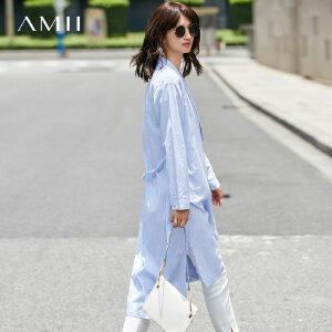 Amii[极简主义]帅气慵懒风西领条纹衬衫2018秋新宽松中长衬衣