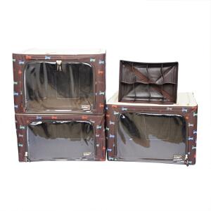 乐扣乐扣(lock&lock)小狗图案百纳箱4件套装LLB575CSH604咖啡色 66L2个/55L1个/6.5L1个收纳盒整理箱收纳箱