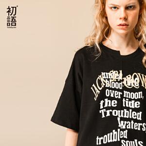 初语夏装新款迪士尼加勒比海盗圆领字母印花中长款五分袖T恤女潮