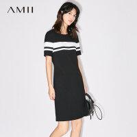 【AMII 超级品牌日】Amii[极简主义]2017夏装新品极简撞色拼接短袖修身连衣裙11741900
