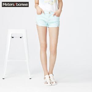 美特斯邦威女牛仔短裤夏装女脚口蕾丝牛仔短裤254734 庥