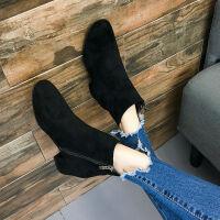 磨砂短靴女秋冬单靴复古小皮鞋中跟裸靴潮学生高帮鞋英伦风马丁靴