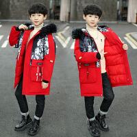 男童冬装棉衣洋气中大儿童冬季加厚羽绒棉服中长款外套