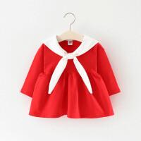 童装2018新款女童裙子春秋儿童海军风连衣裙0一1-3岁小童宝宝春装 红色 小领结裙