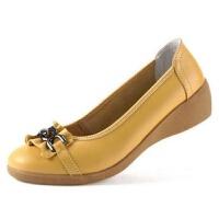 【真牛皮】春夏季中跟单鞋女鞋浅口护士鞋牛筋底软底鞋妈妈鞋