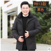 爸爸冬�b外套40�q50中�L款中年男士老爸衣服冬季中老年羽�q服加厚
