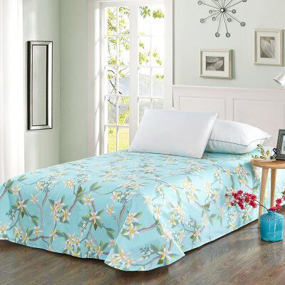 当当优品 纯棉斜纹床上用品 床单250*230cm 花舞摇曳(蓝)当当自营 100%纯棉 不易褪色 0甲醛 透气防潮 大尺寸