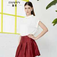 【2件5折】【4.24上新】海贝2017夏季新款女装 纯色POLO领拉链套头收腰雪纺短袖衬衫短款
