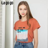 【5折价106】Lagogo/拉谷谷2019年夏季新款宽松圆领短袖T恤女IATT313G64