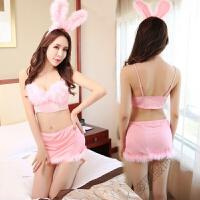 情趣女内衣 性感粉色兔女郎套装透明制服兔子角色扮演夜店表演激情sm 均码