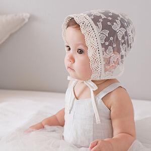 Yinbeler宝宝棉质护耳包头帽蕾丝镂空星星新生儿软边公主女婴系带帽婴儿帽子薄0-1岁