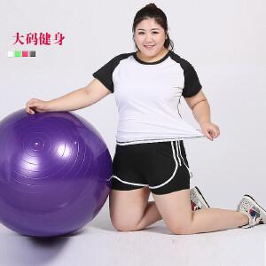 卡茗语大码运动套装胖MM200斤跑步健身衣瑜伽服速干短裤两件套加大加肥