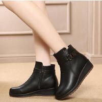 中老年短靴大码鞋秋冬加绒保暖妈妈鞋棉鞋中年女鞋防滑平底靴