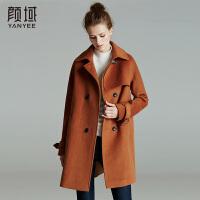 颜域品牌女装2017冬装新款欧美纯色搭片呢子大衣女中长款外套风衣
