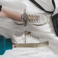 豆沙绿帆布鞋女学生韩版小白鞋复古港味平底ins板鞋2019夏季新款 白色 豆沙绿
