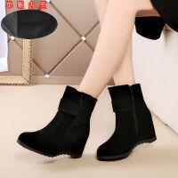 春秋冬新款靴子英伦内增高短靴女高跟单靴冬季女鞋保暖棉靴