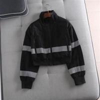 欧美单超火反光条小立领拉链宽松运动夹克短款外套女潮 黑色