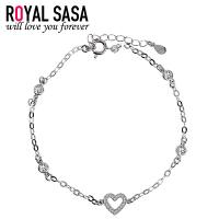 皇家莎莎新品925银手链女士爱心形仿水晶首饰品配饰送女友闺蜜生日礼物