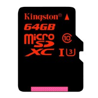 Kingston金士顿64G UHS-I C10 TF卡高速存储卡 读速90M/S中国红