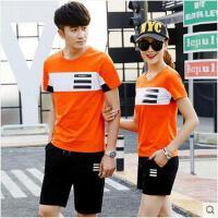 男短袖短裤休闲韩版跑步运动服装女情侣两件套运动套装男运动服