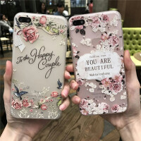 苹果iPhone6plus硅胶手机壳6s保护壳浮雕硅胶保护套时尚玫瑰花纹软日韩