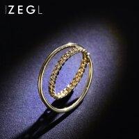 ZENGLIU日韩国双环戒指 女简约个性食指环戒子饰品潮人情侣对戒