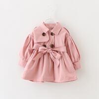 2018春装新款童装0-1-2-3岁4儿童女童外套女宝宝婴儿春秋风衣上衣 粉红色 腰带风衣