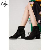 【25折到手价:199.75元】 Lily春新款女装帅气粗跟中跟柔软羊皮革短靴118420JZ415
