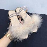 毛毛凉鞋女夏外穿平底韩国学生原宿公主学院一鞋两穿两用拖鞋