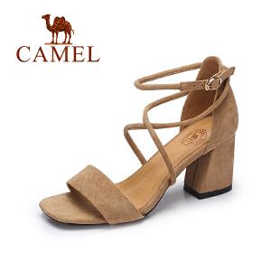 Camel/骆驼女鞋夏季新款时尚气质露趾高跟凉鞋交叉绑带粗跟绒面凉鞋
