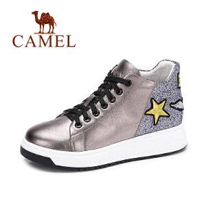 Camel/骆驼女鞋  秋季新品时尚拼接平跟女鞋 个性舒适高帮鞋