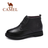 camel 骆驼女鞋 冬季新款 简约英伦风及踝靴女 系带短靴子