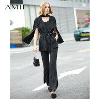 【预估价268元】Amii极简时髦条纹套装女2019春季新款配腰带西装外套开叉喇叭长裤