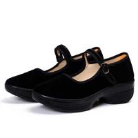 夏季新款老北京舞蹈鞋中高跟广场舞鞋软底女跳舞鞋酒店工作布鞋女