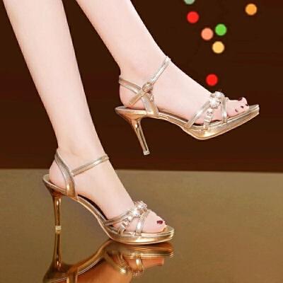 2019夏季新款凉鞋女夏韩版细跟高跟鞋时尚中跟水钻金色夏天女鞋子 金色