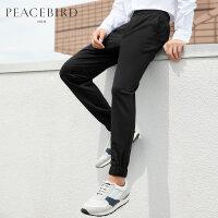 太平鸟男装 运动裤男韩版束腿休闲裤黑色修身休闲裤潮春季新品
