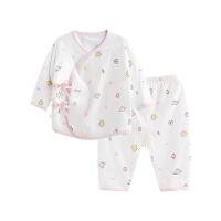 婴儿内衣套装纯棉和尚服新生儿睡衣两用裆飞行小兔两用裆合同套