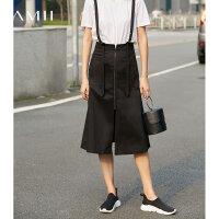 Amii[极简主义]夏装2017新款黑色纯棉A字拉链背带半身裙11783187