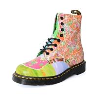 Dr.Martens 女士马丁8孔拼色彩绘印花高帮鞋女款马丁靴