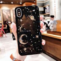 星空苹果xR手机壳iPhone XS Max 8plus保护套6s7p透明软壳防摔 苹果7/4.7 土星月球黑色