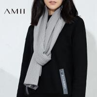 Amii冬新品简洁百搭温暖坑条纹长条围巾女11694310.