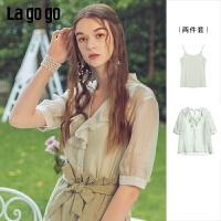 【清仓5折价116】Lgogo/拉谷谷2019夏季新款薄纱荷叶边衬衫两件套女IACC835A22