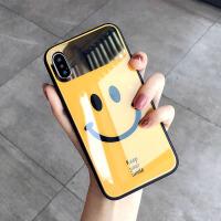 镜面笑脸xs max手机壳XR玻璃7plus潮牌iphone8新款6s女 6/6S 4.7寸 黄色+同款挂绳