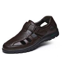 【头层牛皮】凉皮鞋男士透气软底中老年休闲爸爸凉鞋子