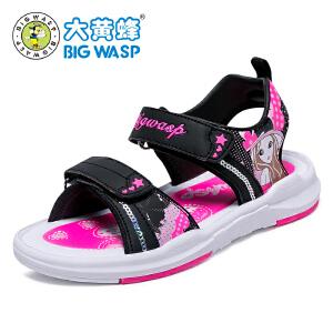 大黄蜂女童凉鞋夏季2017新款儿童沙滩鞋